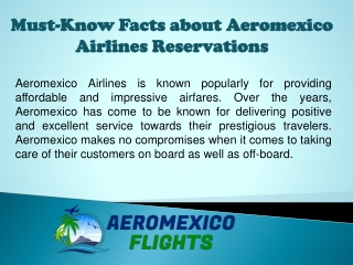 Must-Know Facts about Aeromexico Airlines Reservations