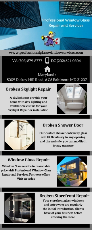 Different types of Window glass services available at Washington DC