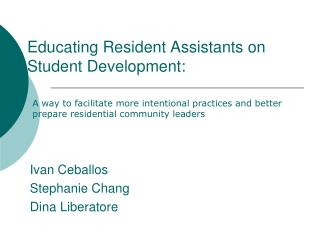 Educating Resident Assistants on Student Development: