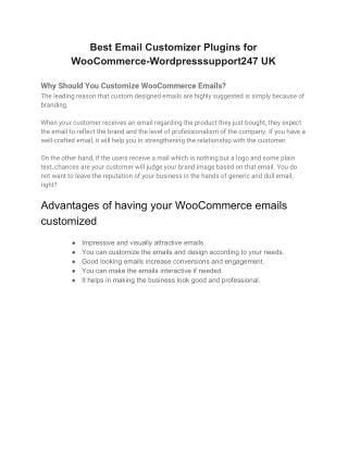 Best Email Customizer Plugins for WooCommerce-Wordpresssupport247 UK