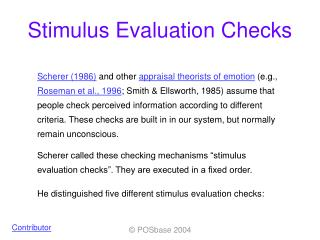 Stimulus Evaluation Checks