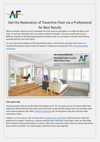 Get the Restoration of Travertine Floor Via A Professional for Best Results