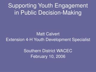 Supporting Youth Engagement in Public Decision-Making