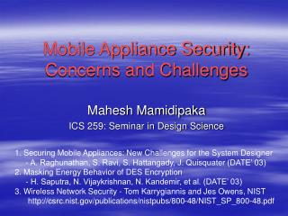 Mobile Appliance Security: Concerns and Challenges
