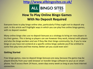 How To Play Online Bingo Games With No Deposit Required