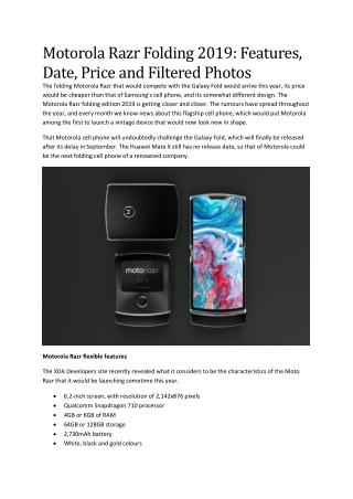 Motorola Razr Folding 2019: Features, Date, Price and Filtered Photos