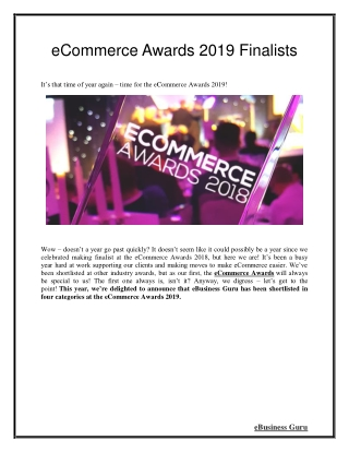 eCommerce Awards 2019 Finalists | eBusiness Guru
