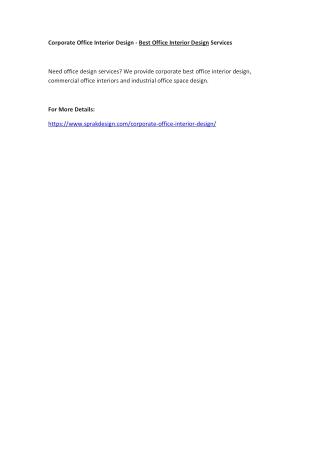Corporate Office Interior Design - Best Office Interior Design Services