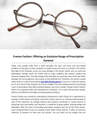 Frames Fashion: Offering an Exclusive Range of Prescription Eyewear
