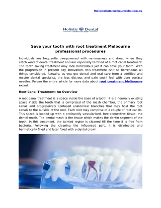 Save your tooth with root treatment Melbourne professional procedures