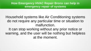 How Emergency HVAC Repair Bronx can help in emergency repair of systems