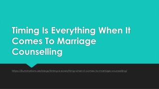 Timing Is Everything When It Comes To Marriage Counselling