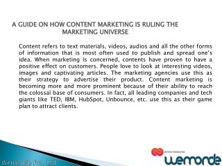 A GUIDE ON HOW CONTENT MARKETING IS RULING THE MARKETING UNIVERSE
