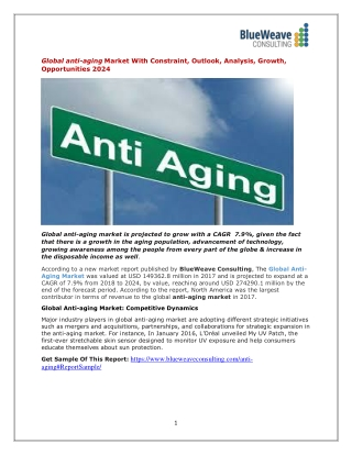 Global anti-aging Market With Constraint, Outlook, Analysis, Growth, Opportunities 2024