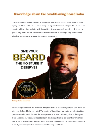 Knowledge about the conditioning beard balm