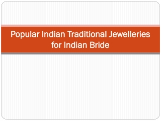 Popular Indian Traditional Jewelleries for Indian Bride