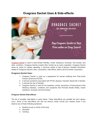 Ovagrace Sachet Uses and Side-effects