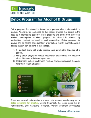 Detox Program for Alcohol