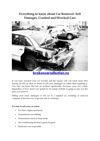 Everything to know about Car Removal- Sell Damages, Crashed and Wrecked Cars