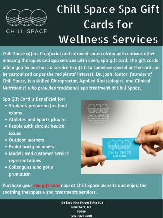 Chill Space Spa Gift Cards for Wellness Services