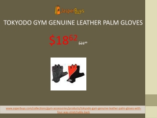 Tokyodo Gym Genuine Leather Palm Gloves with Four Way Stretchable Back and Strong Sticky Adjustable Strap, 8 mm Foam Pad