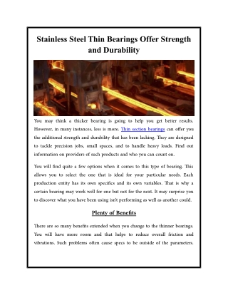 Stainless Steel Thin Bearings Offer Strength and Durability