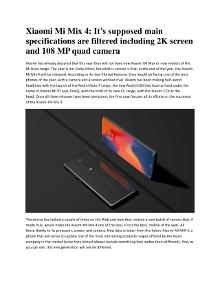Xiaomi Mi Mix 4: 2K screen and 108MP Camera