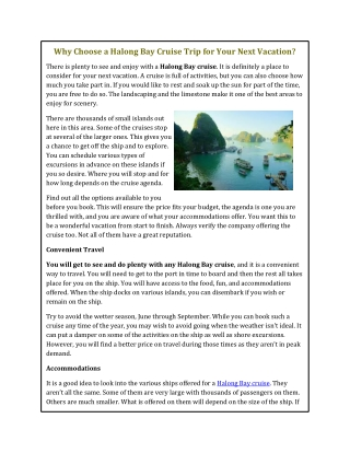 Why Choose a Halong Bay Cruise Trip for Your Next Vacation?