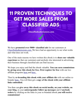 11 Proven Techniques To Get More Sales From Classified Ads