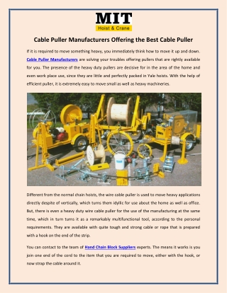 Cable Puller Manufacturers Offering the Best Cable Puller
