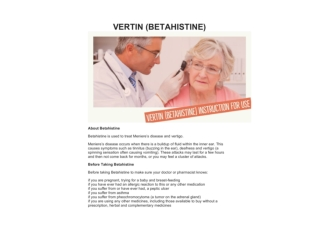 VERTIN (BETAHISTINE) INSTRUCTION FOR USE