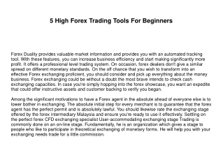 5 High Forex Trading Tools For Beginners