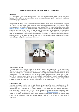 Set-Up an Inspirational & Functional Workplace Environment