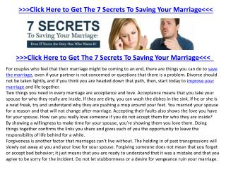 Save Your Marriage information