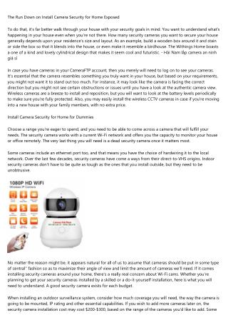 home security camera installation service