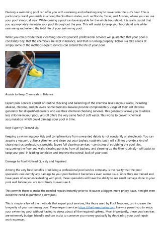 Pool Service - Services They Can Handle for You