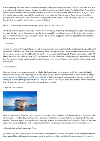 The 12 Worst Types Yates alquilar en los Cabos dayyachtcharters.com Accounts You Follow on Twitter