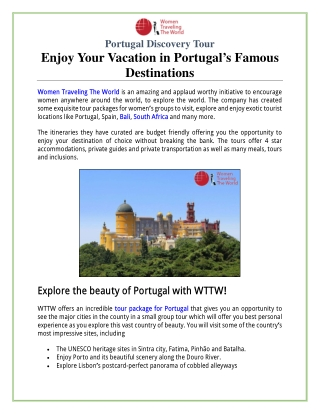 Portugal Discovery Tour: Enjoy Your Vacation in Portugal's Famous Destinations