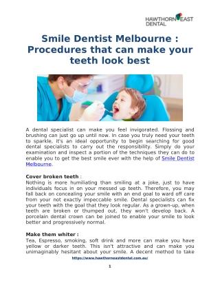Best Smile Dentist Melbourne : Hawthorn East Dental