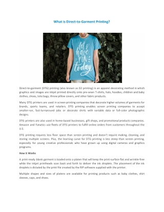 What is Direct-to-Garment Printing?