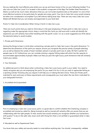 What NOT to Do in the cabo sport fishing boats Industry