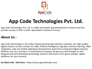 AppCode Technologies Pvt. Ltd. - INDIA | Mobile App Development Company