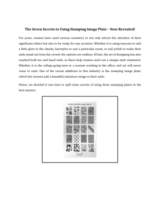 The Seven Secrets to Using Stamping Image Plate – Now Revealed!