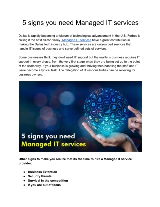 5 Signs you need Managed IT Services