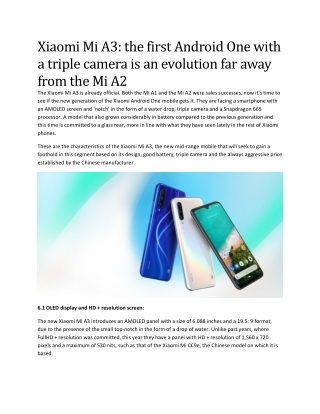 Xiaomi Mi A3: the first Android One with a triple camera is an evolution far away from the Mi A2
