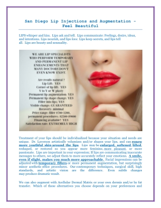 San Diego Lip Injections and Augmentation - Feel Beautiful