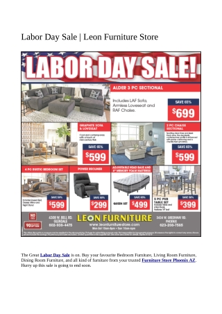 Labor Day Sale | Leon Furniture Store