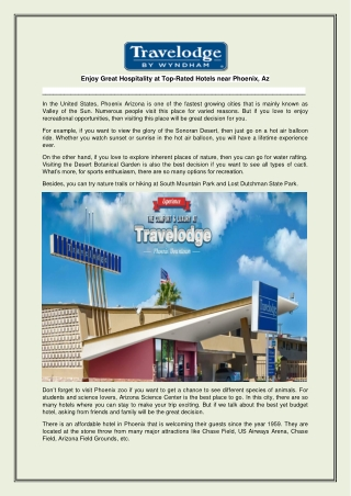 Enjoy Great Hospitality at Top-Rated Hotels near Phoenix, Az