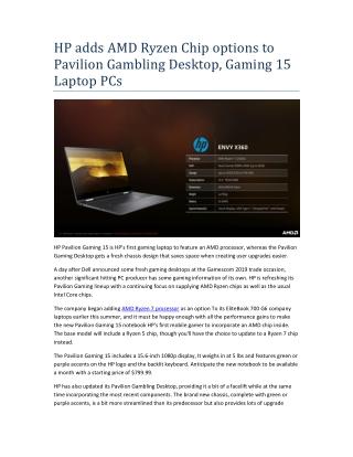 HP adds AMD Ryzen Chip options to Pavilion Gambling Desktop, Gaming 15 Laptop PCs