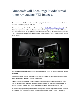 Minecraft will Encourage Nvidia's realtime ray tracing RTX Images